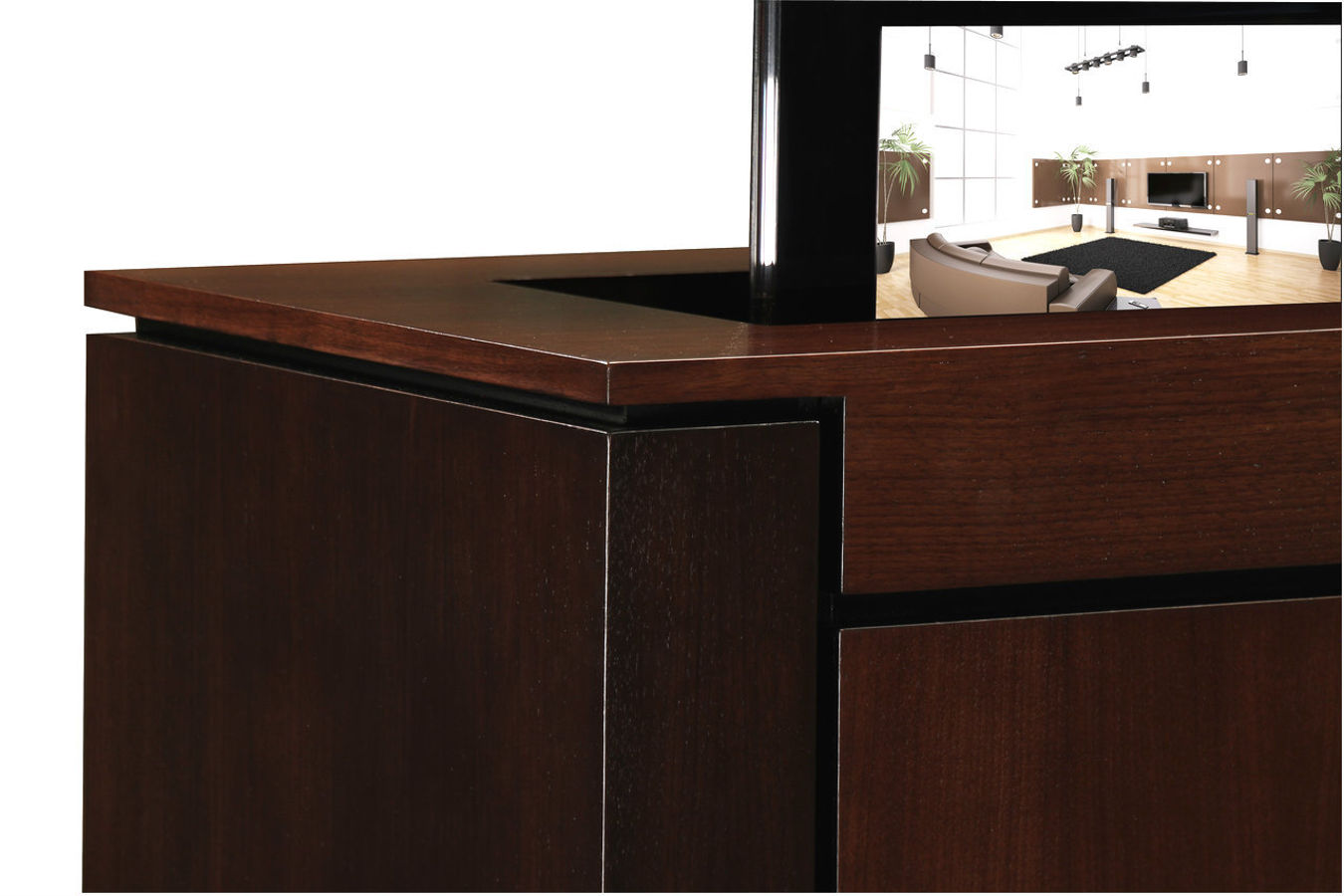 Close Up Of The Walnut Modern Buffet Tv Lift Cabinet Console