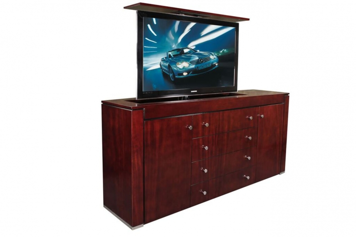 modern contemporary mahogany tv lift cabinet custom made tv lift. Black Bedroom Furniture Sets. Home Design Ideas