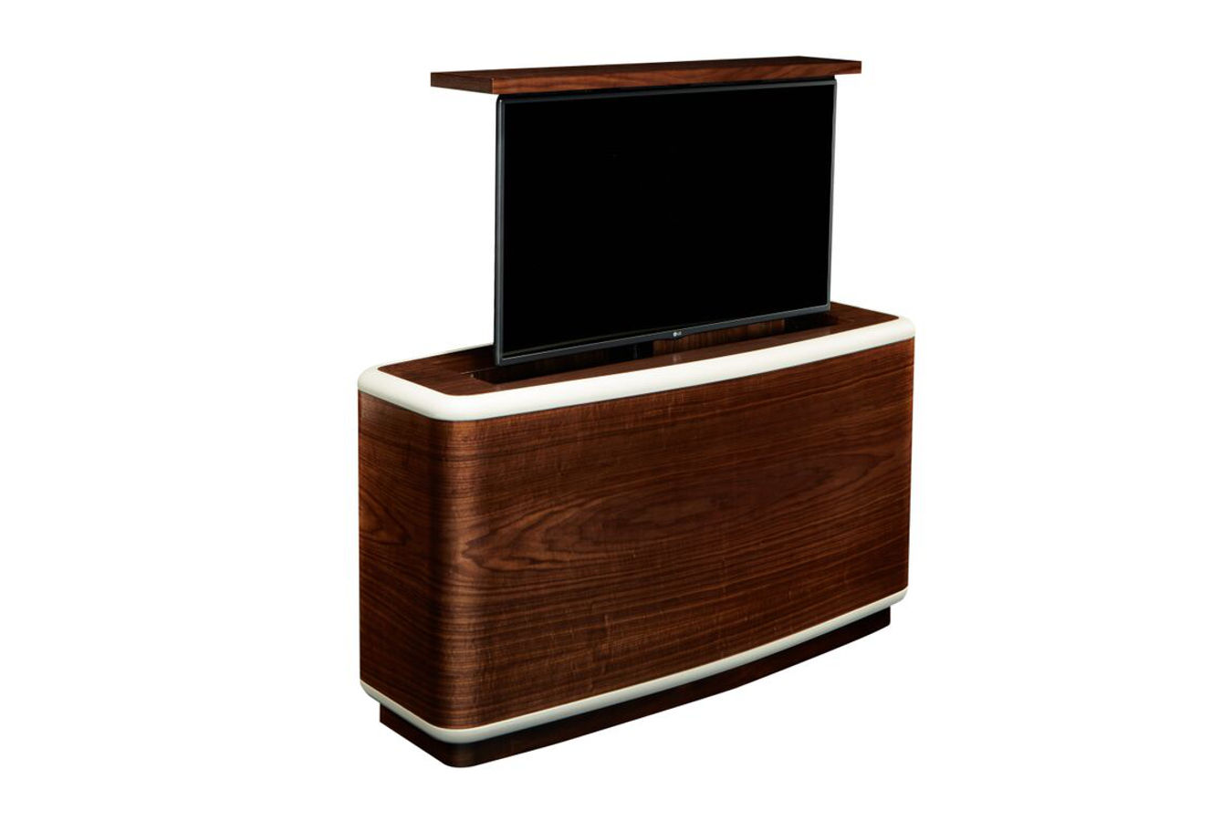 Fercarra rounded hidden TV in walnut furniture with lift by Cabinet Tronix and Trace Mccullough