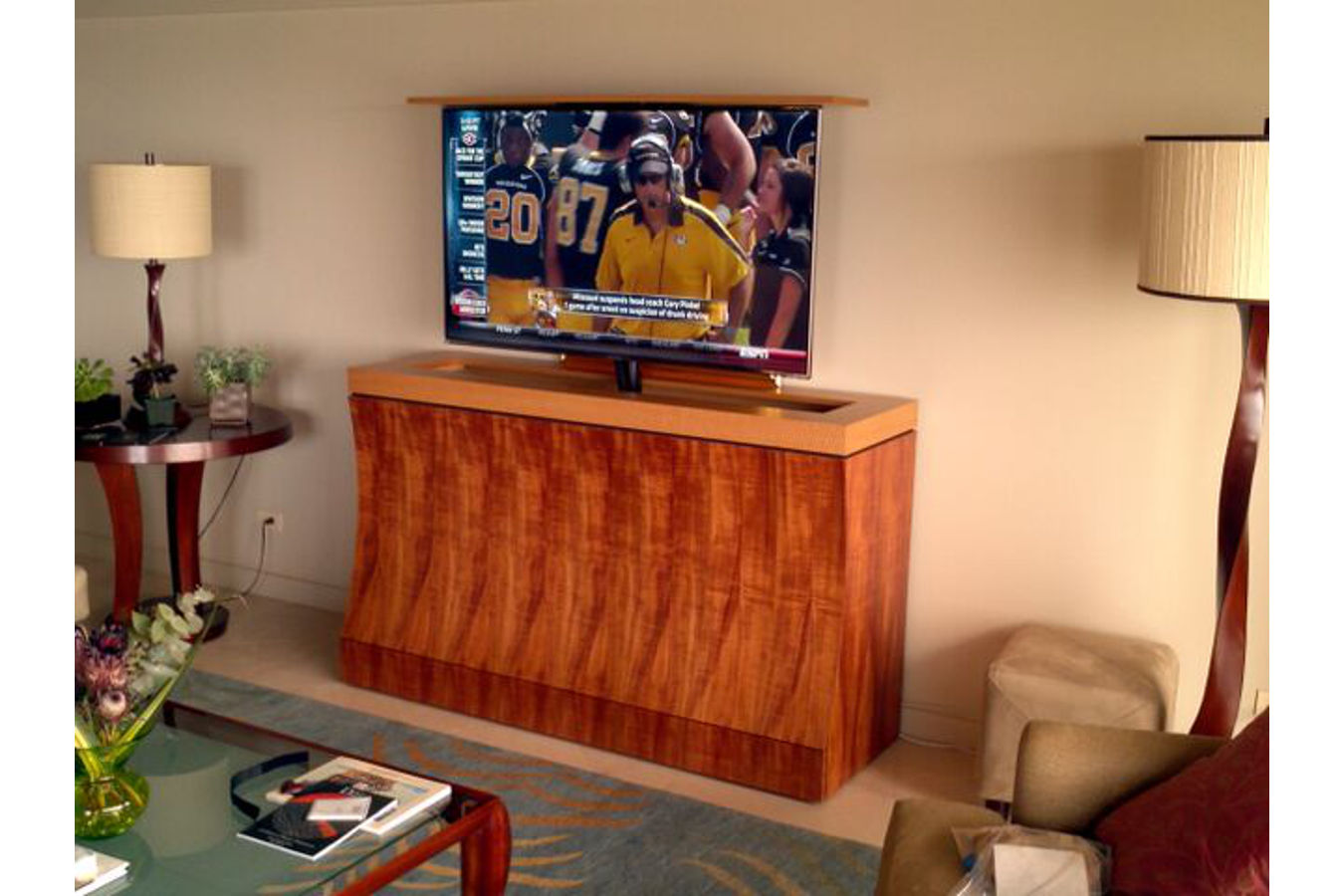 Bayside modern pop up TV lift kit cabinet made out of Koa