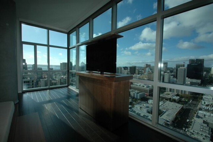 Hide the TV in furniture when not watching so you can see the view. Built by Trace McCullough