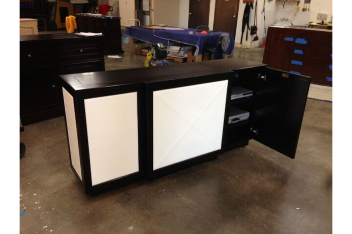 othello showing component section on the right side leather tv lift cabinet by cabinet tronix modern