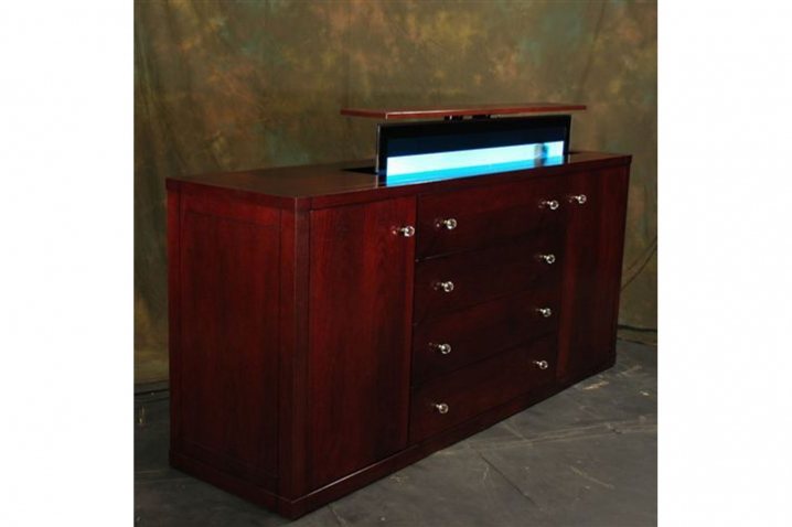 Modern buffet tv lift cabinet contempo flat screen tv lift for Tv cabinets hidden flat screens