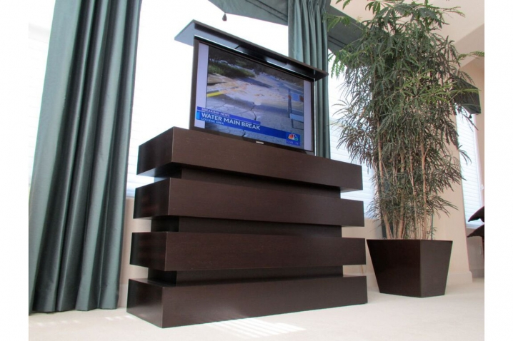 Motorized tv lift cabinet le bloc custom modern pop up for End of bed tv stand ikea