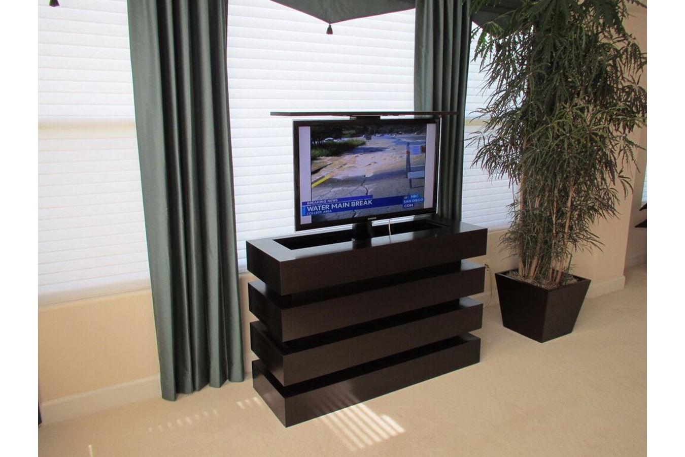 motorized tv lift cabinet le bloc custom modern pop up. Black Bedroom Furniture Sets. Home Design Ideas