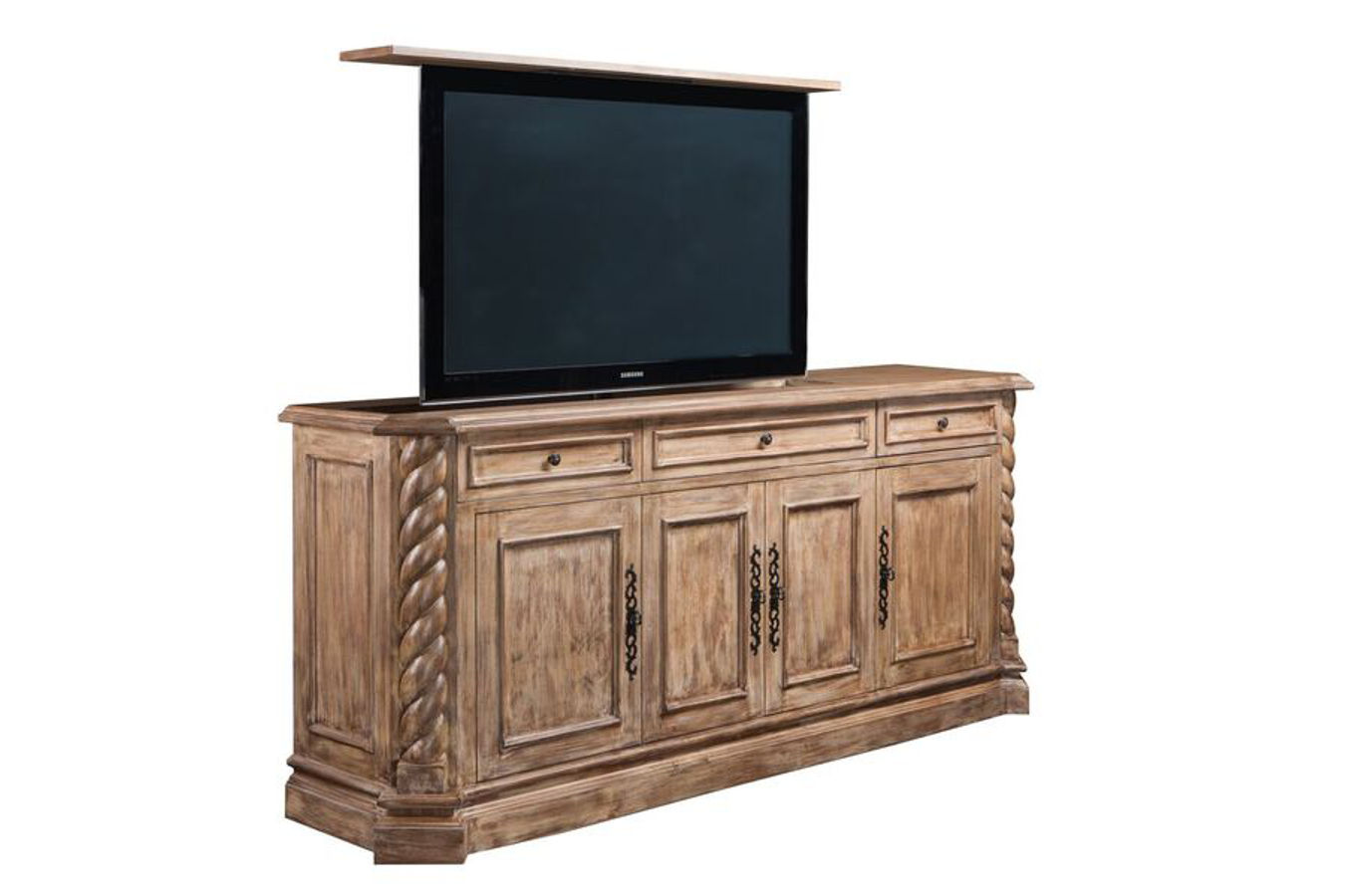 Hidden tv cabinet pop up tv cabinet torsal traditional for Hidden tv cabinets for flat screens