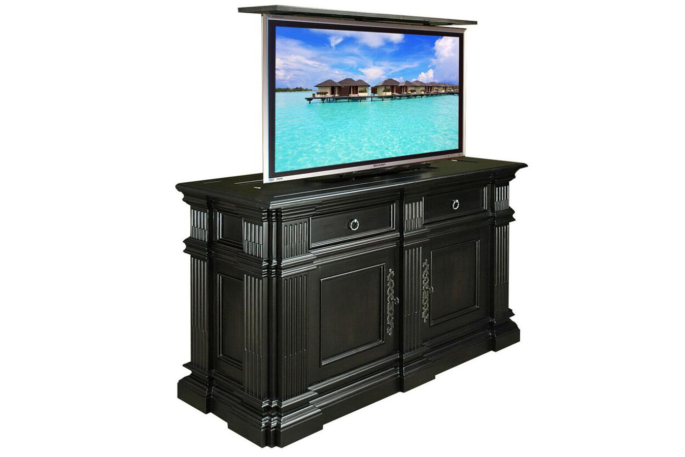 black satin tv lift cabinet for living room in Atlanta