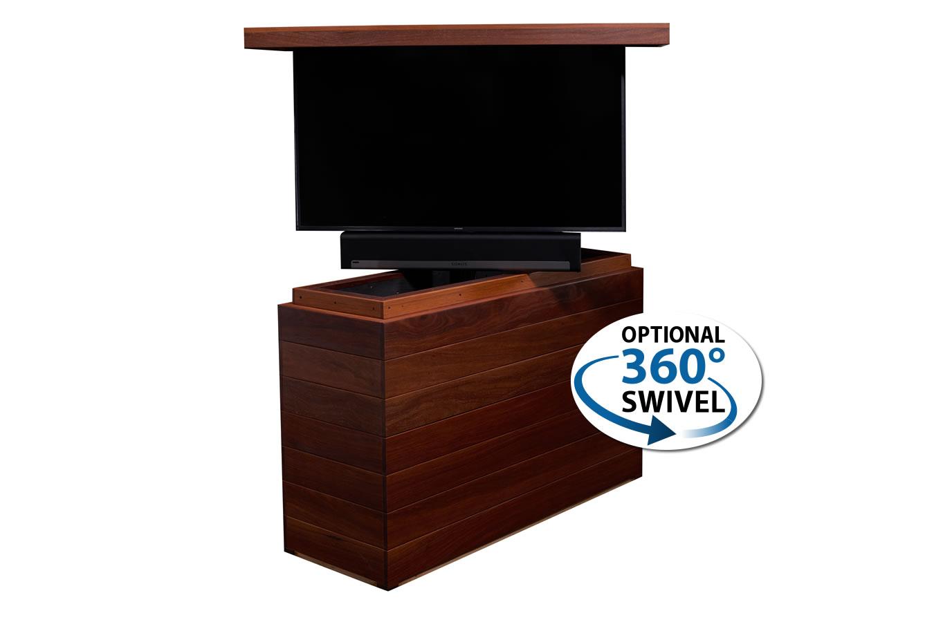 ... Cabinet Tronix Outdoor Cumaru Wood TV Lift Furniture Hides Samsung 55  Inch And Sonos Playbar In ...