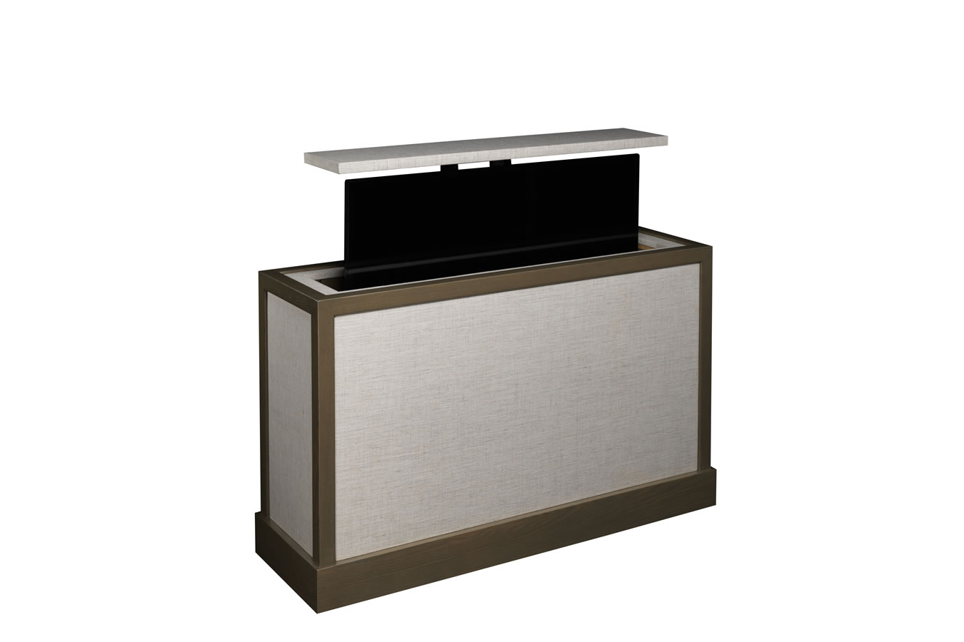 Flat screen tv lift cabinet end of bed cabinets matttroy for Motorized tv stands flat screens