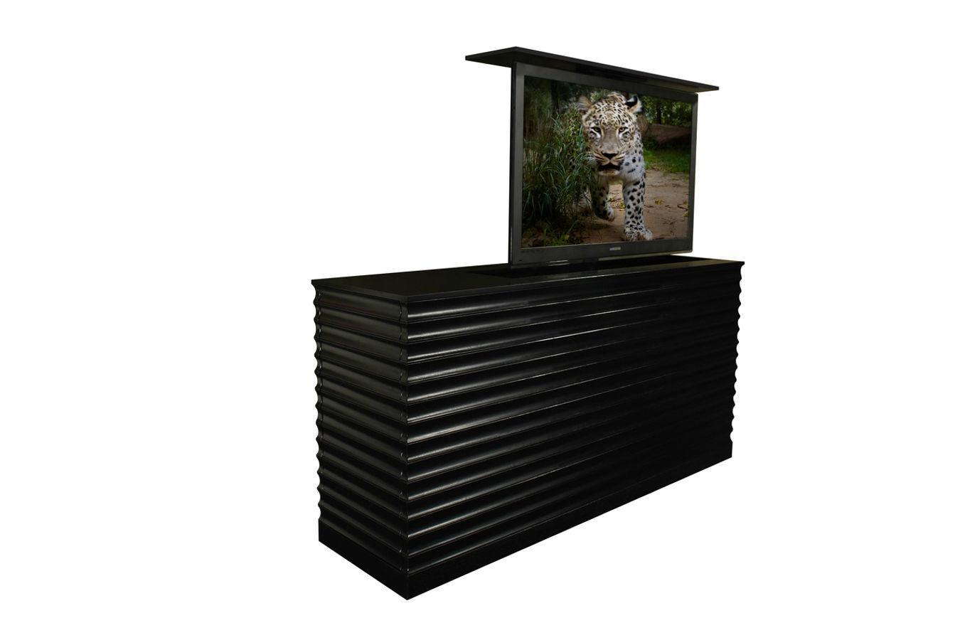 Flat screen tv riser accord ebony tv lift cabinets for Tv lift consoles for flat screens