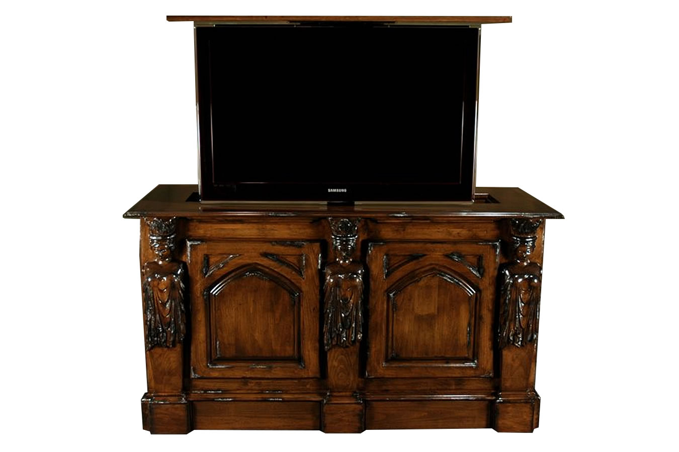 Antique Caramel princess hand carved TV lift Cabinet - orange county