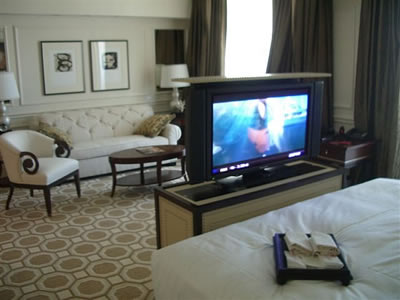 Aqualina Hotel has TV pop up to watch from many areas