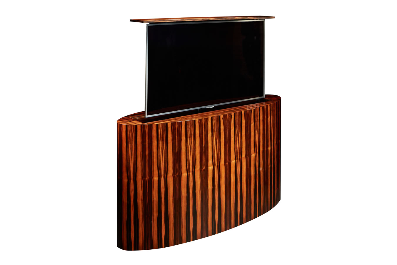 Beautiful Atlantis TV Lift Cabinet with Custom Macassar Ebony