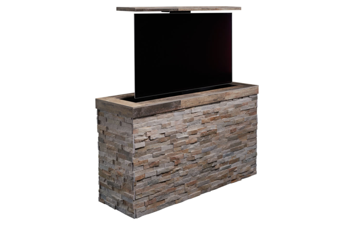 outdoor pop up tv tile topped stacked stone outdoor tv. Black Bedroom Furniture Sets. Home Design Ideas
