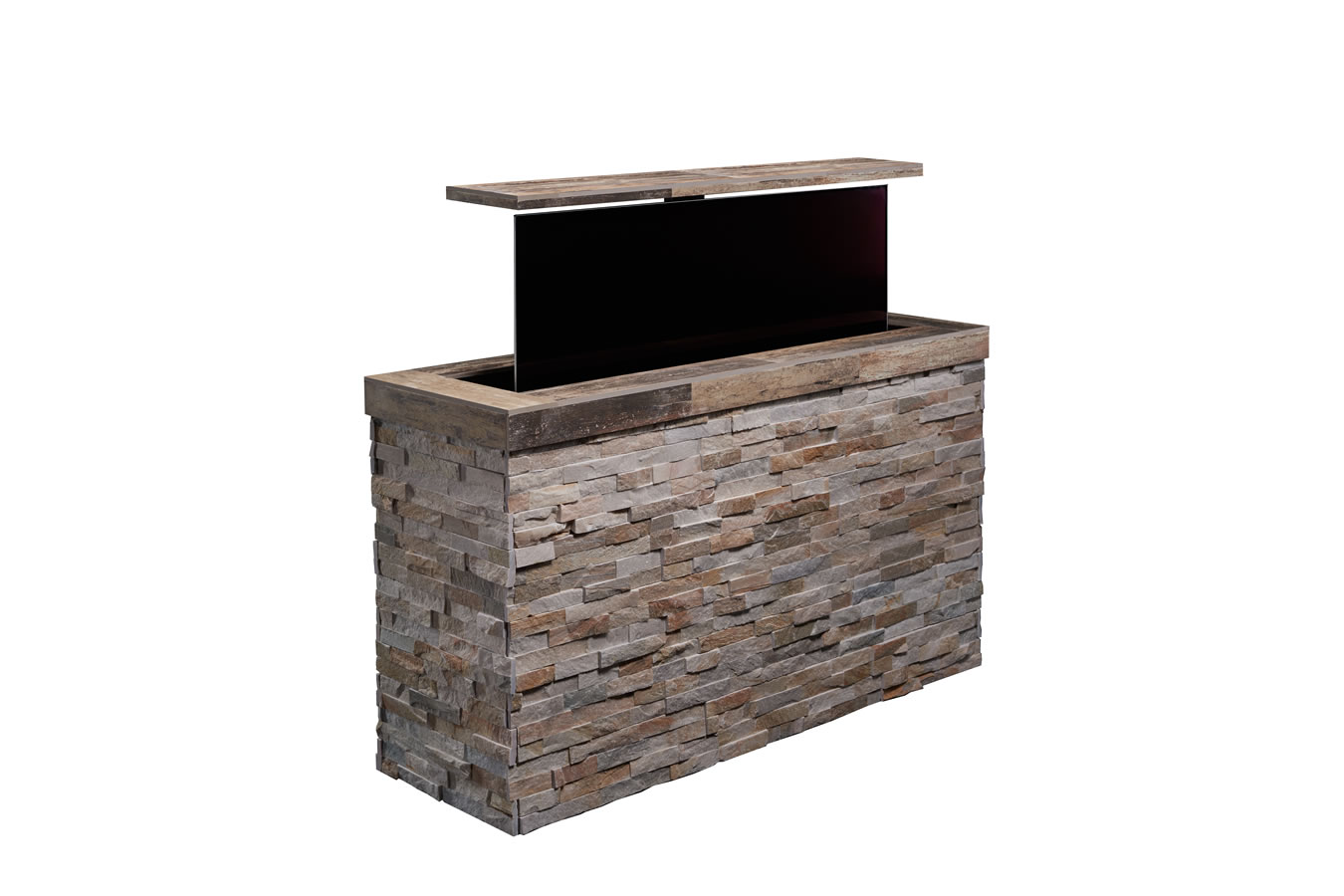 outdoor pop up tv tile topped stacked stone outdoor tv cabinet. Black Bedroom Furniture Sets. Home Design Ideas
