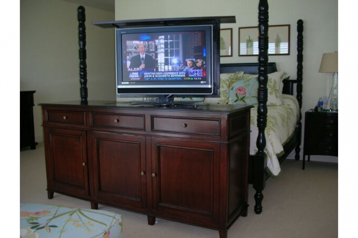 Flat screen lift cabinet end of bed tv lift cabinet hides for Tv lift consoles for flat screens