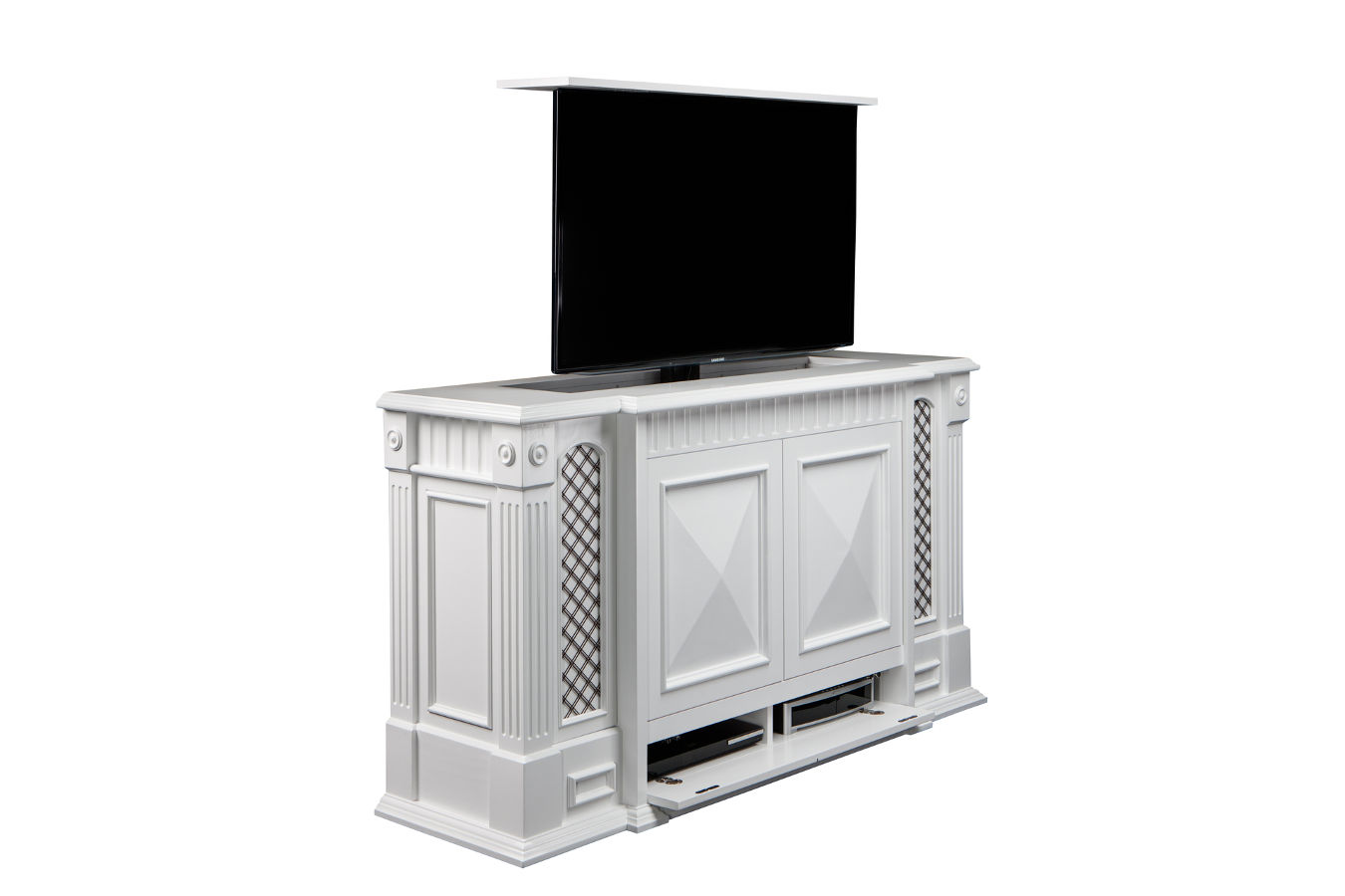 end of bed tv lift carlyle end of bed tv stand. Black Bedroom Furniture Sets. Home Design Ideas