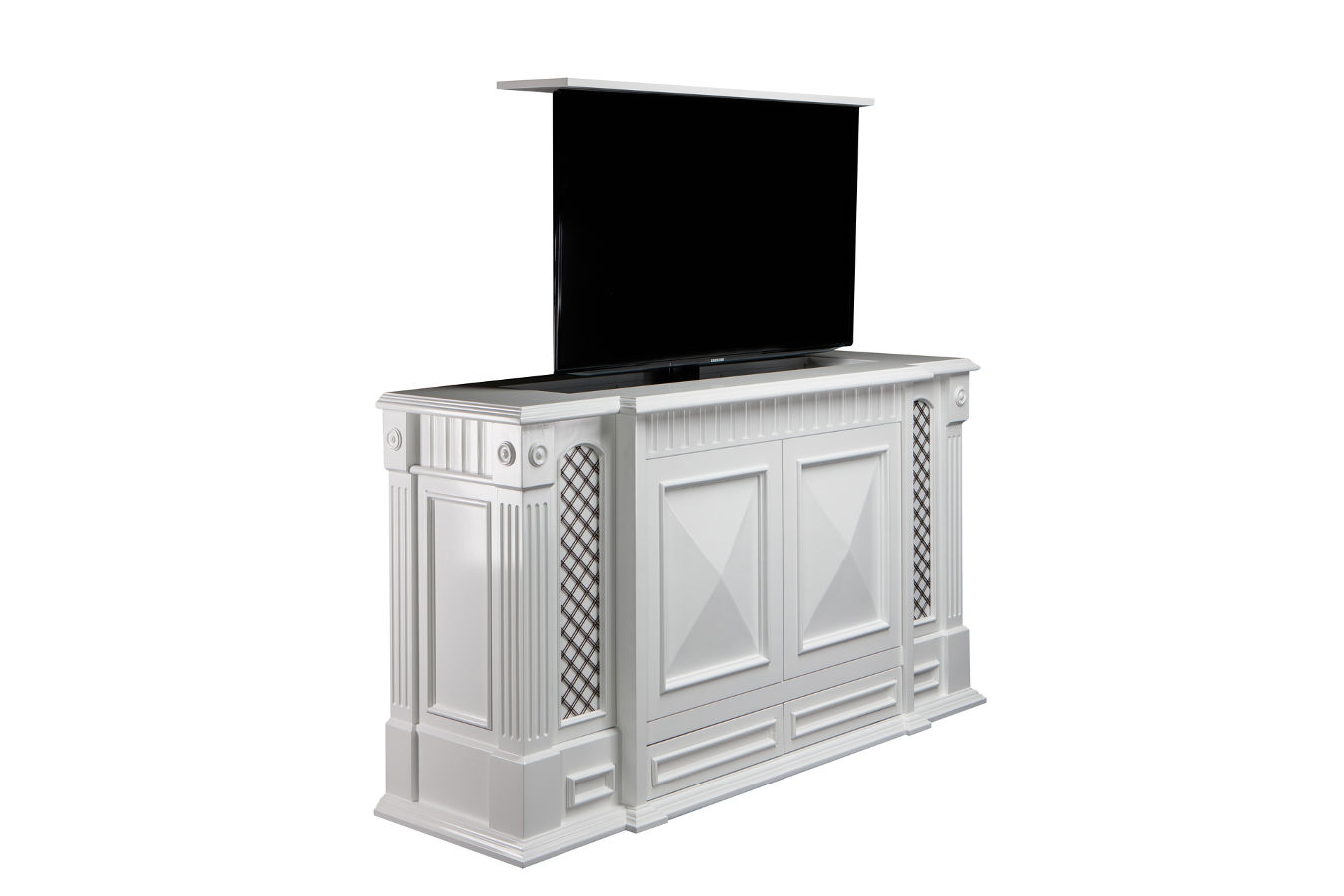 Stunning Carlyle White Satin Costco TV Lift cabinet is hand carved,  Made in US and comes with a 10 year warranty. holds flat screens from 37 to large 65 inch.