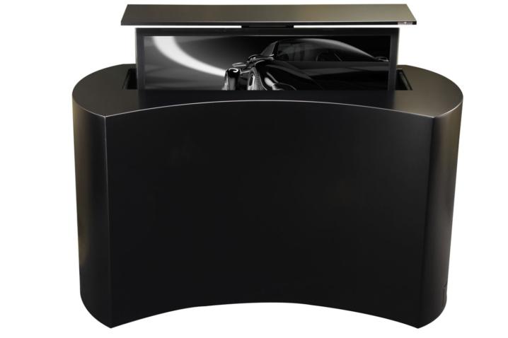 coast black satin hidden tv lift cabinet