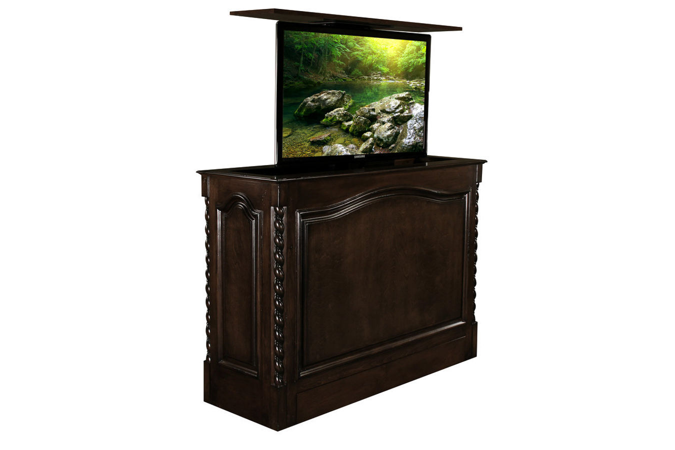 Coronado french walnut is a designer grade automated TV Lift console furniture is US Made and comes with a 10 year warranty. This retracts flat screens up to 65 inch.