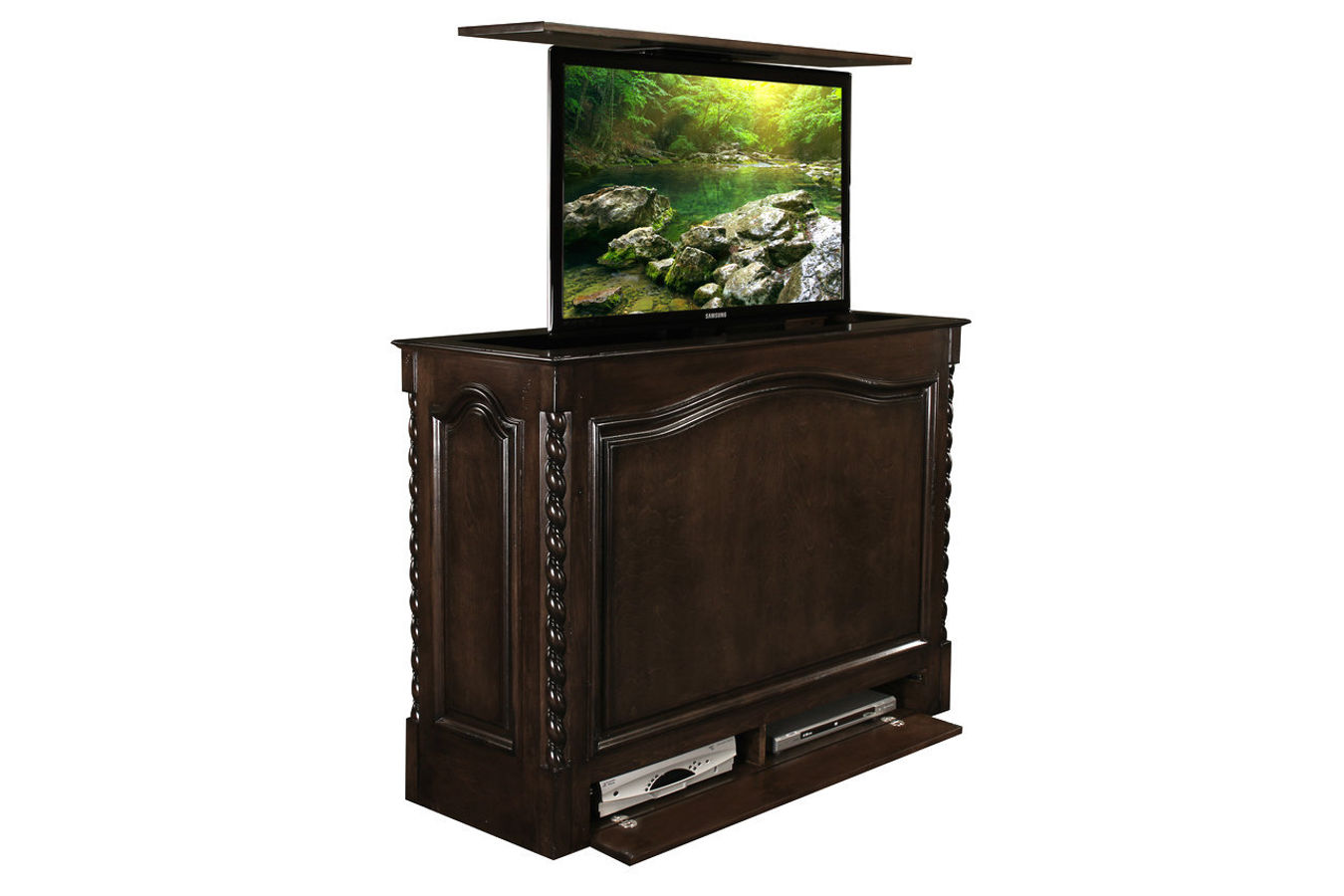 raising tv lift furniture coronado tv lift cabinet. Black Bedroom Furniture Sets. Home Design Ideas