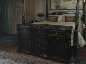 Country staycation bedroom furniture retracts TV with remote