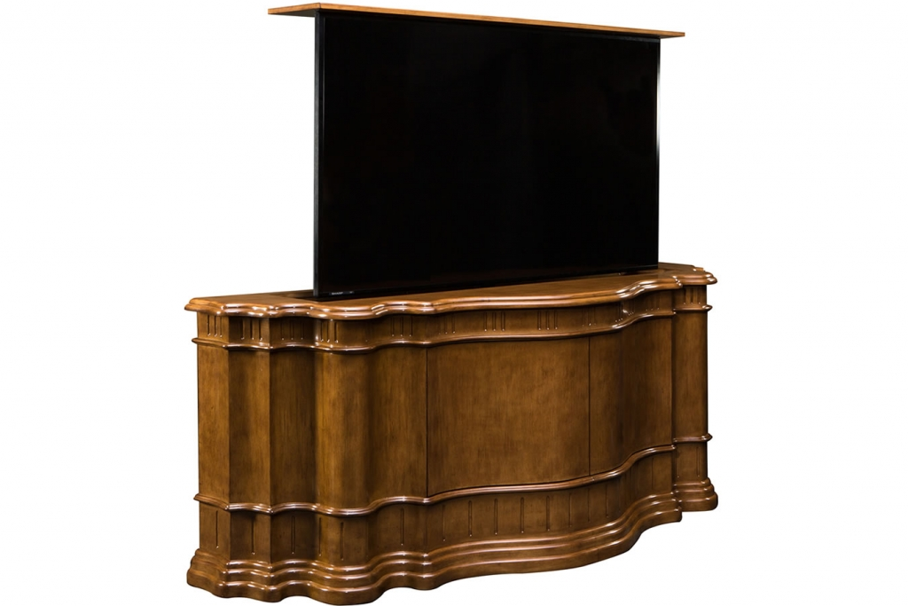 Custom designed TV lift cabinet hand carved and rounded