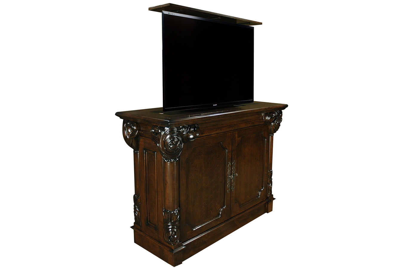 De Liz Hand Carved TV lift cabinet by US made Cabinet Tronix
