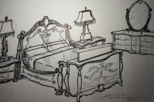 Design sketch for Ribbom Bombay Chateau tv lift custom cabinet