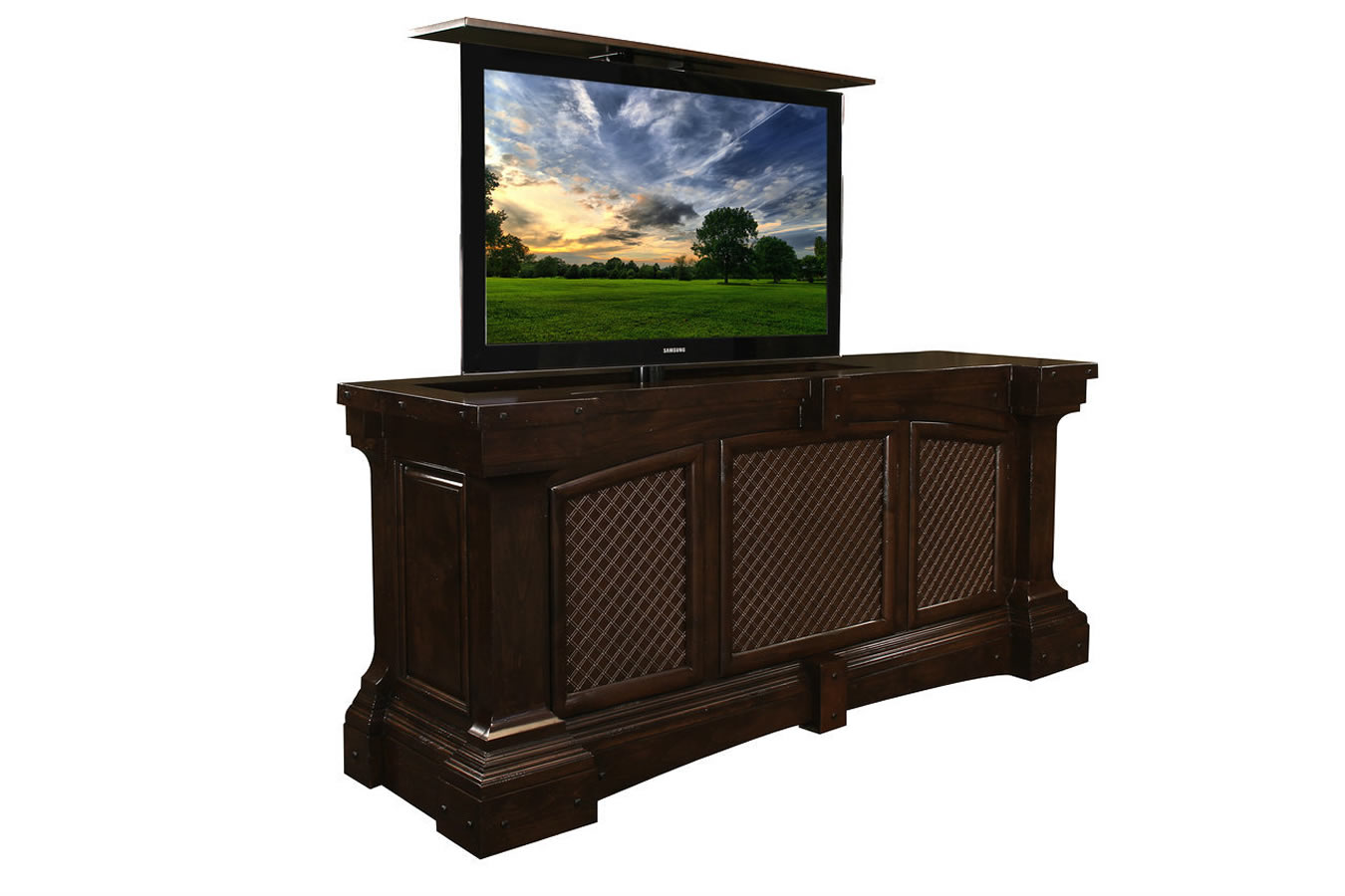 Fairbanks Rustic Designer TV Lift Cabinet holds up to 55 inch flat screen or curved TVs