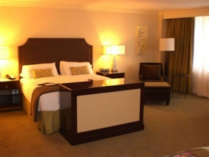 Fairmont hotel suite with leather pop up