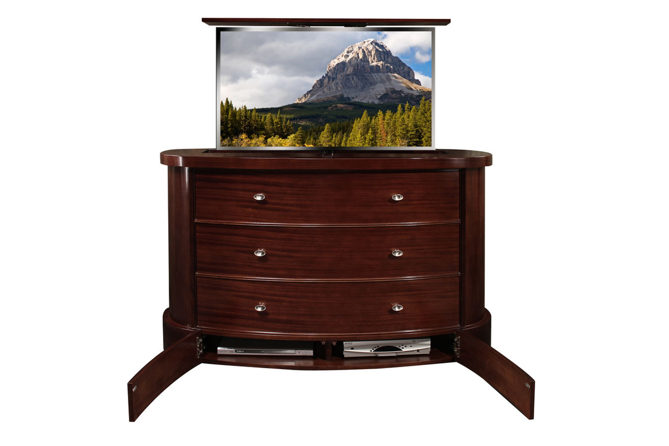 Fitch Ribbonwood Plasma TV Lift Cabinet Furniture Has A Component Section  That Is Located On The