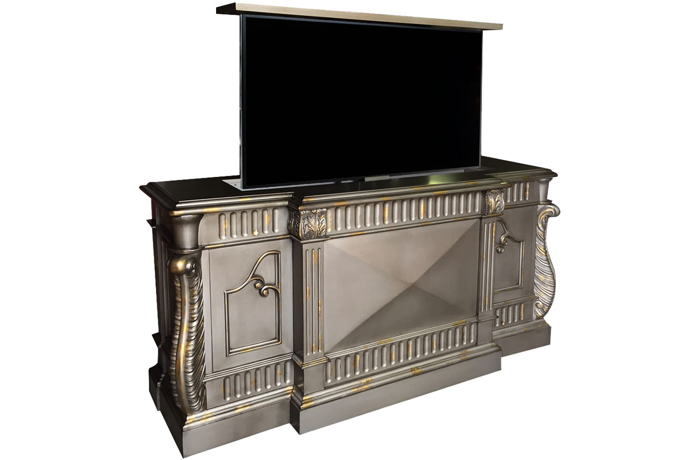 Custom designed flat screen tv lift furniture for Tv cabinets hidden flat screens