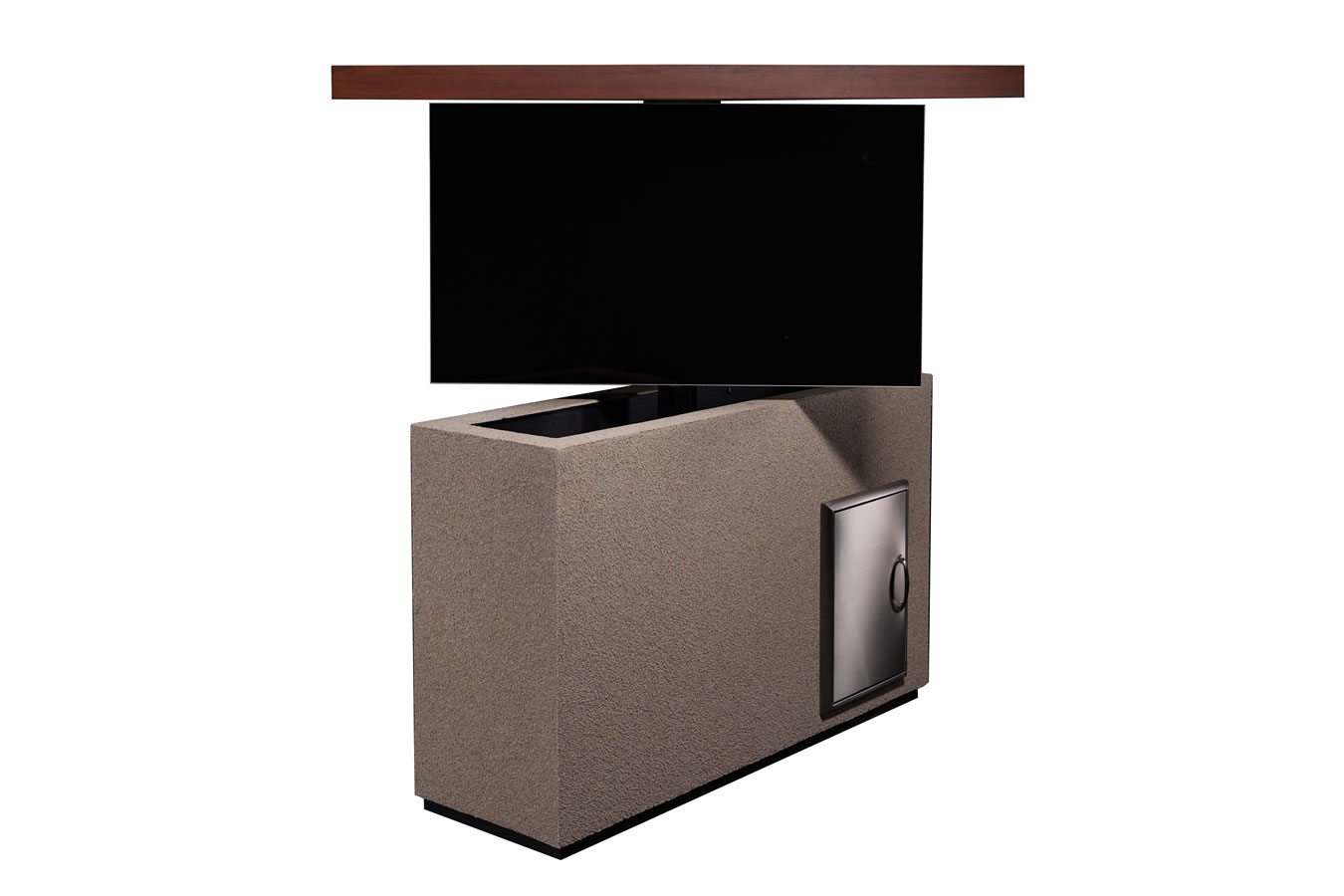 Stucco motorized cabinet to hide and keep safe tv outside for Motorized tv lift with swivel