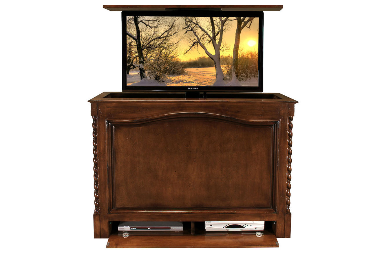 Coronado Antique Caramel Motorized TV Stand Comes In 19 Other Finishes