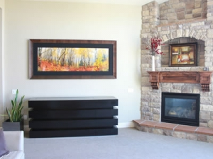 Le bloc TV lift cabinet furniure hides TV next to fire place