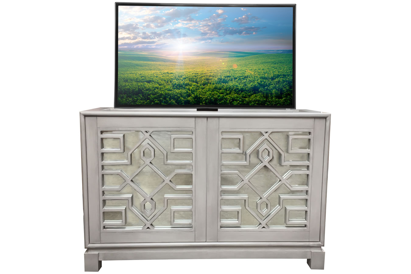 Lili Mirrored Buffet TV Lift Cabinet with Hidden TV
