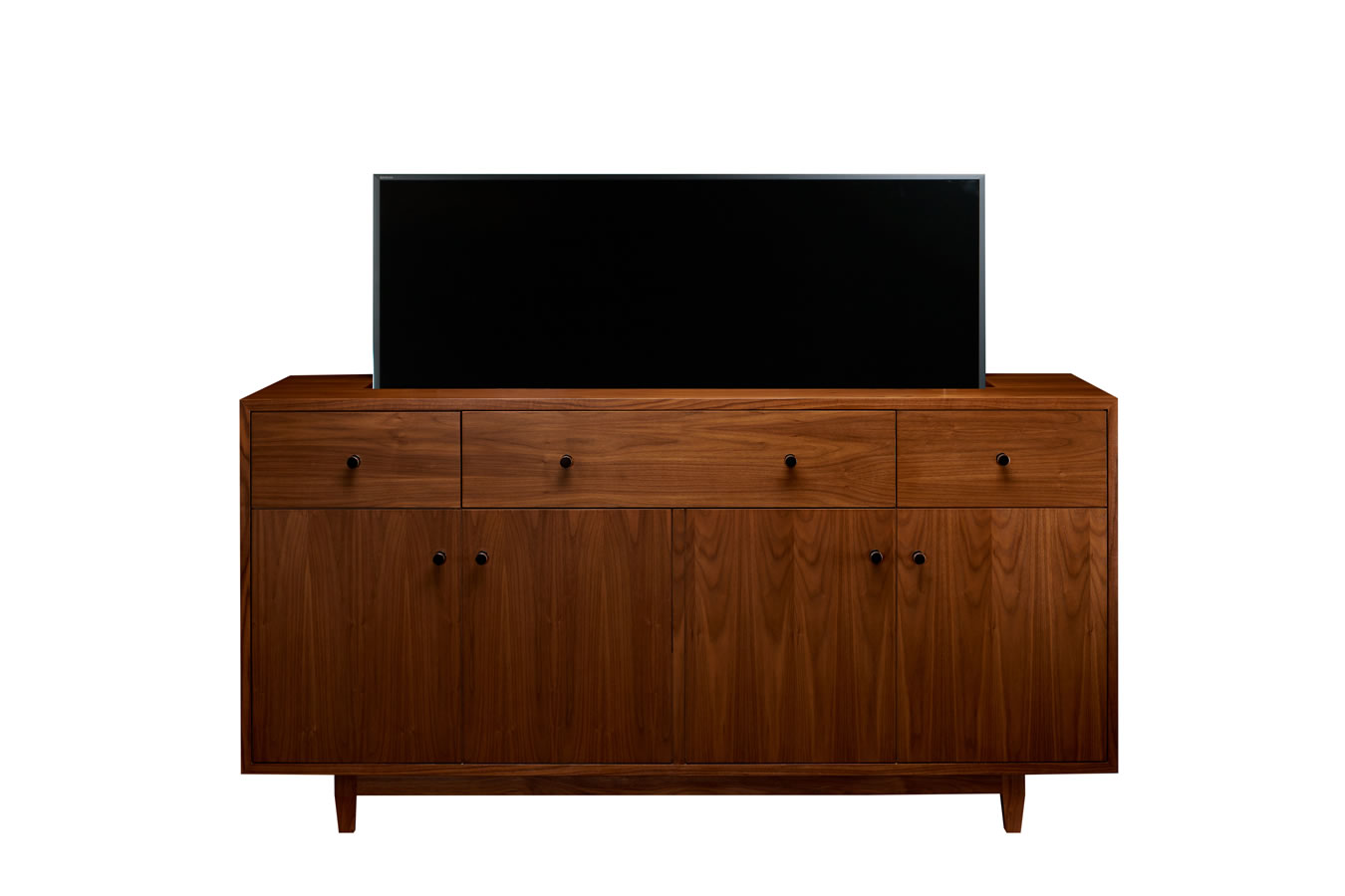 Mid-century walnut TV lift furniture hiding flat screen