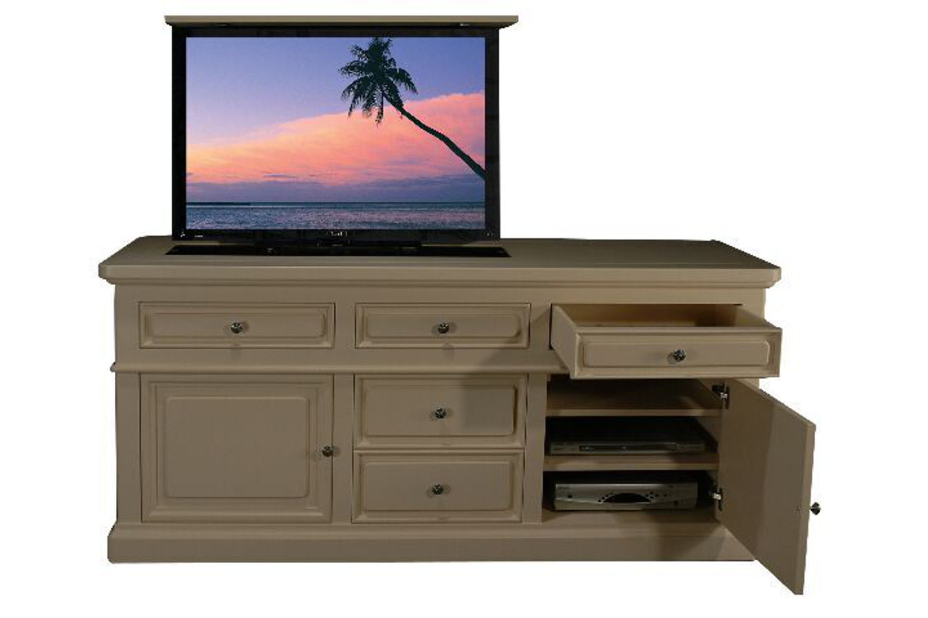 3 door tv cabinet for flat screen mission bay tv lift cabinet for Hidden tv cabinets for flat screens