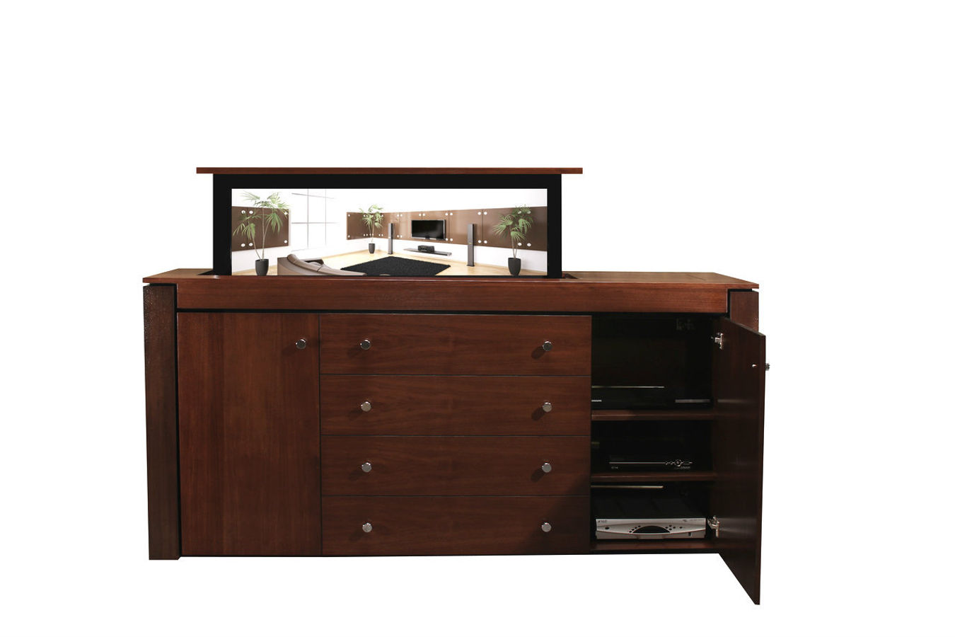 modern buffet walnut tv lift cabinet custom made tv cabinets. Black Bedroom Furniture Sets. Home Design Ideas