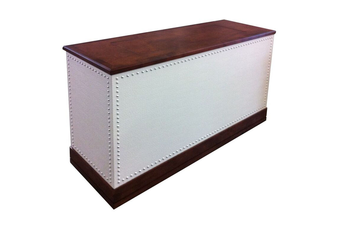 Monterey Custom Leather Furniture Piece With Nail Heads Cabinet Tronix