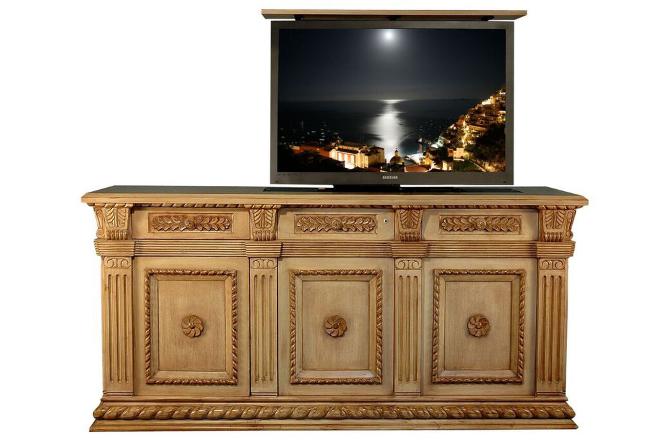 Napoleon ornate hand carved TV lift Cabinet - Colorado