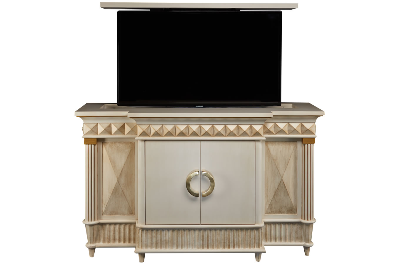 Octavious TV lift cabinet with antique gold glaze created by Cabinet Tronix - Custom Designed Flat Screen TV Lift Furniture