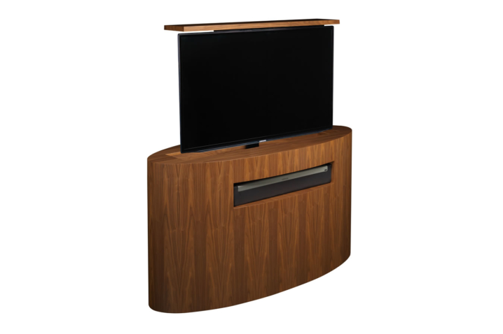 oval tv lift furniture by cabinet tronix has sonos playbar sound bar displayed