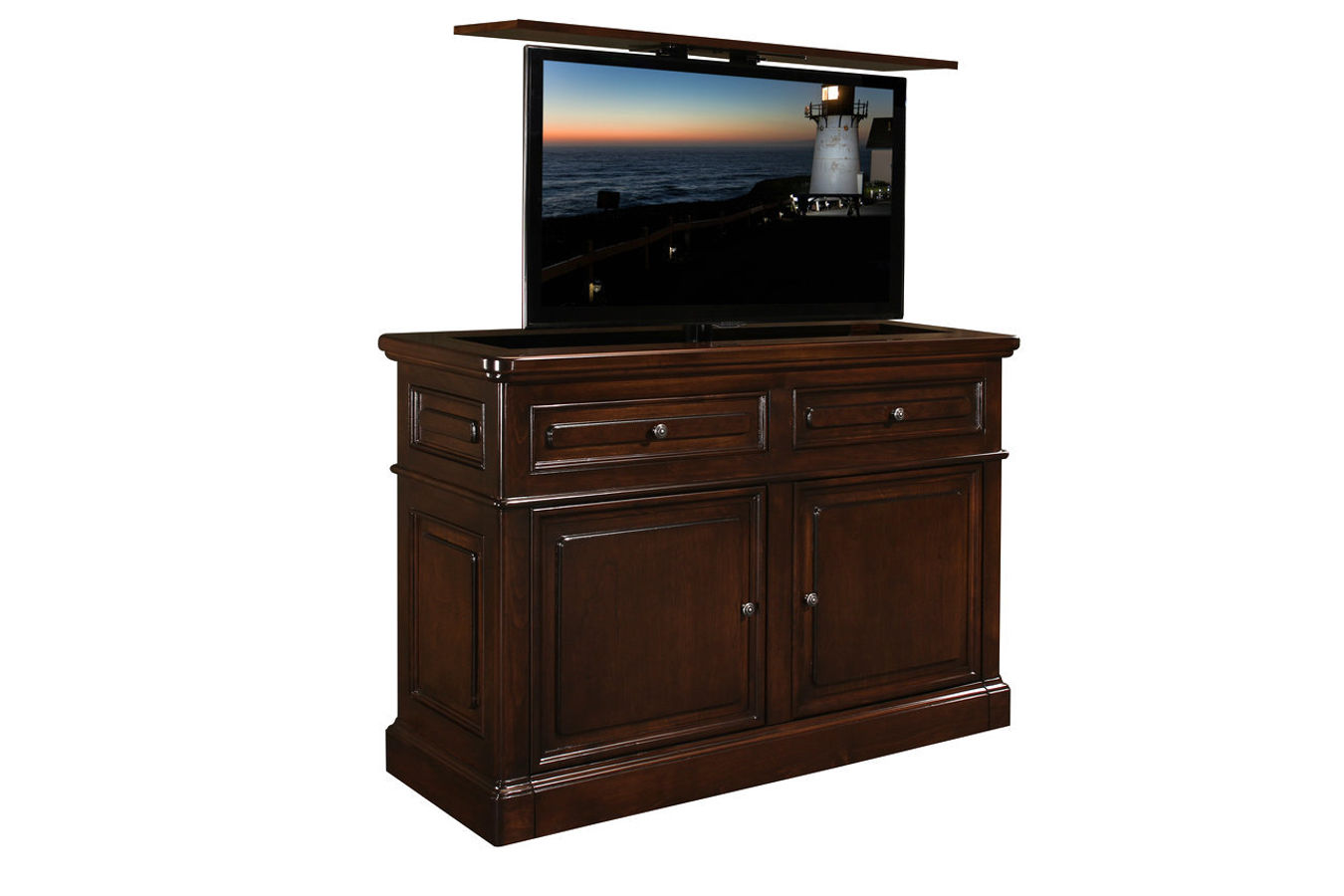 Point Loma Auburn Brown remote controlled TV Lift cabinet is Made in US and comes with a 10 year warranty.  End of bed furniture with Television