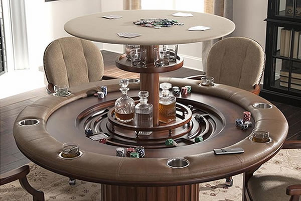 Poker Table with Hidden Bar