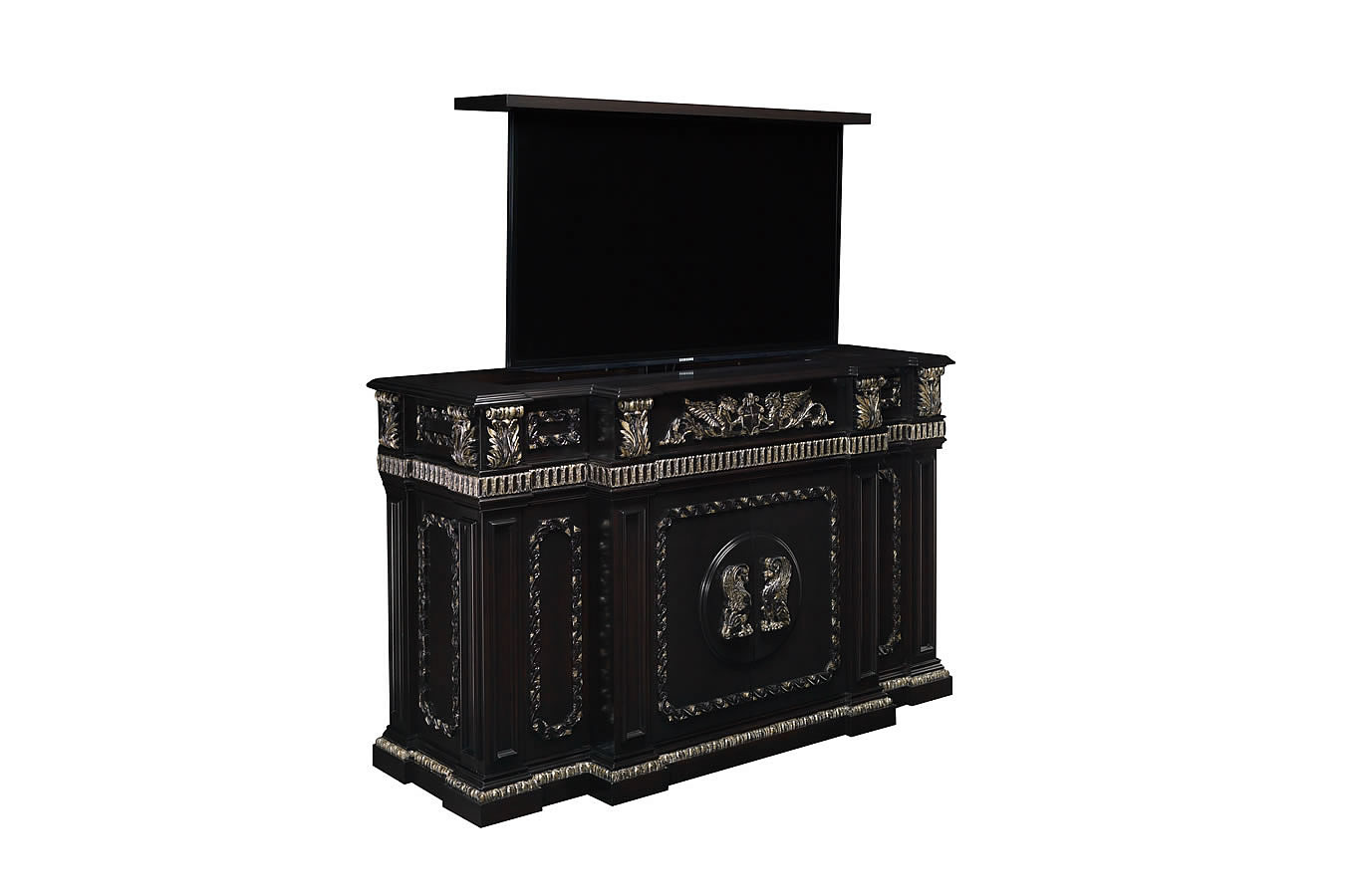 Regal Creek carved TV lift furniture cabinet