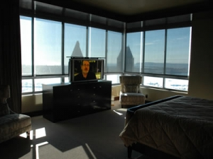 Relaxed Sunday watching TV in new condo and contempo buffet