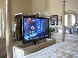 Ritz cabinet with TV and lift kit retracted in up