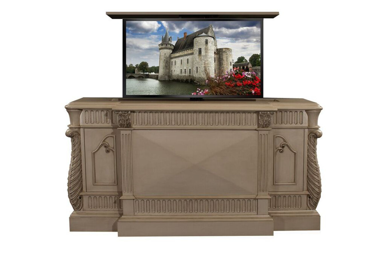 cabinet tronix hand carved rosela with tv lift kit built in